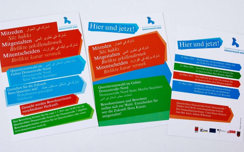 Donaustrasse Quartiersmanagement Quartiersrat Plakate Informationsbroschuere