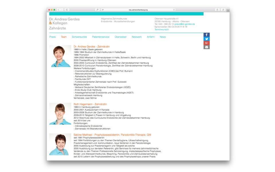 Dr Gerdes Web Zahnarztpraxis Webdesign Webgestaltung