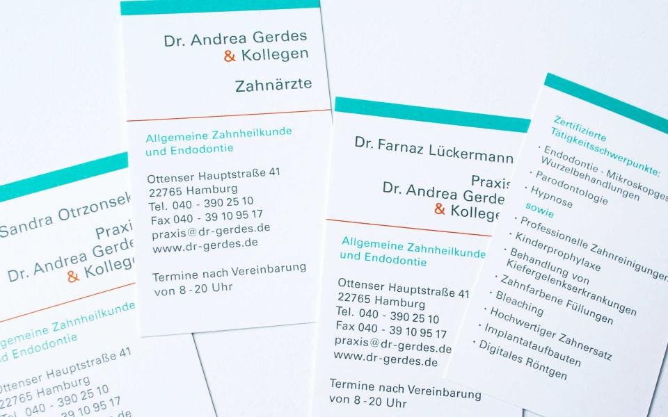 Dr Gerdes Zahnarztpraxis Visitenkarten Briefpapier Corporate Design