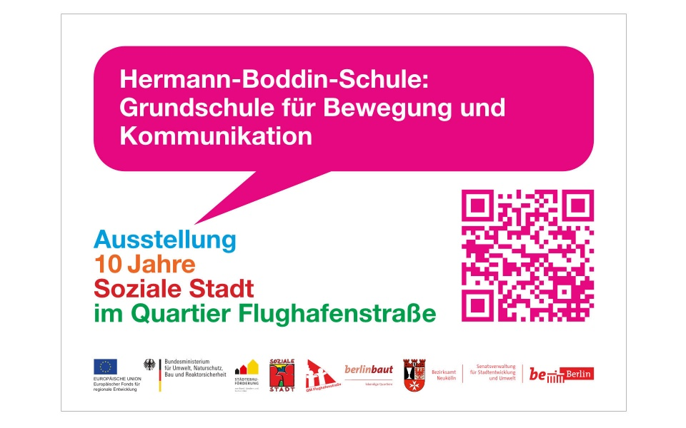 Flughafenstrasse Quartiersbuero Grafik Design Plakate Aufkleber QR Code