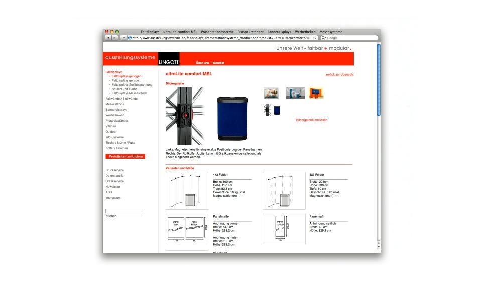 Lingott Ausstellungssystem Webpage Webgestaltung Berlin