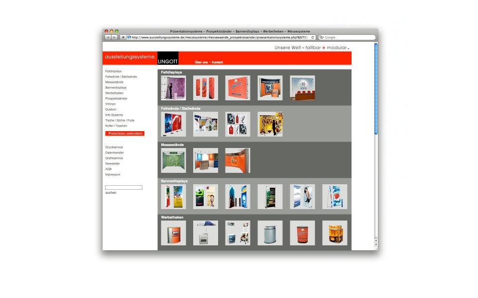 Lingott Ausstellungssysteme Webauftritt CMS System