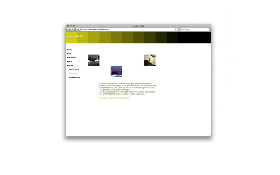 Mediumlich Lichtplaner Webauftritt Webdesign