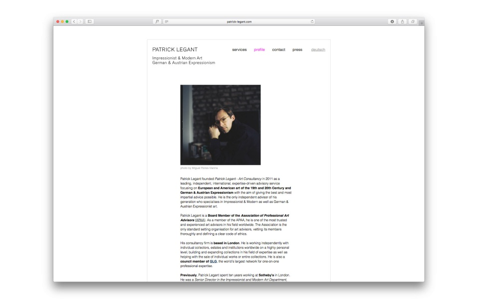 Patrick Legant Corporate Design Website Kunstberater