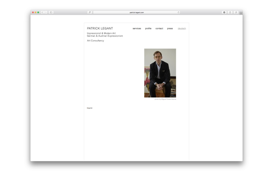 Patrick Legant Corporate Design Website Kunstberater