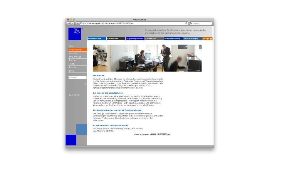 Propack CMS Webauftritt Webdesign Berlin