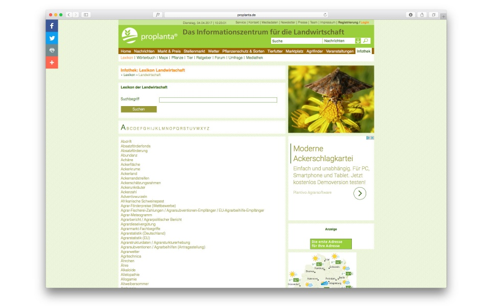 Proplanta Website Webdesign Berlin