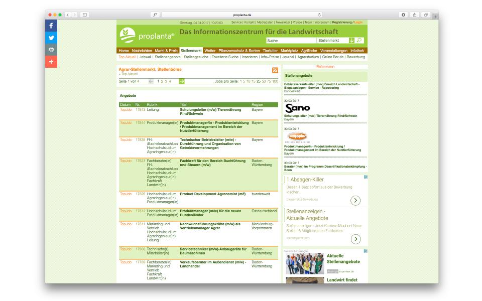 Proplanta Webauftritt Wissenschaftsplattform Berlin