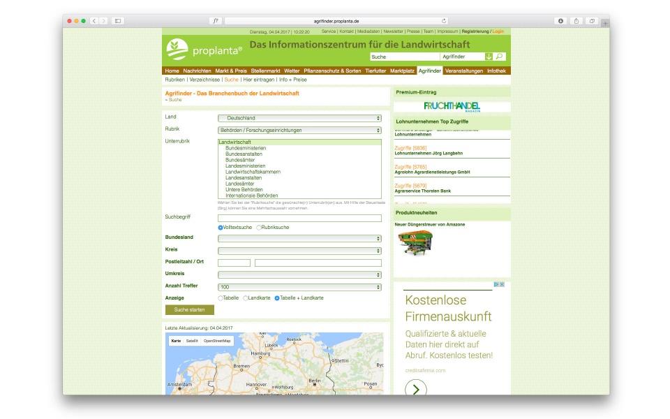Proplanta Website CMS System Webpage