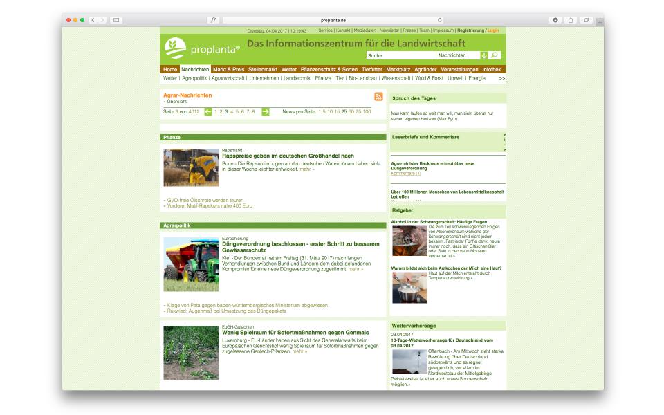 Proplanta Website CMS System Wissenschaftsplattform