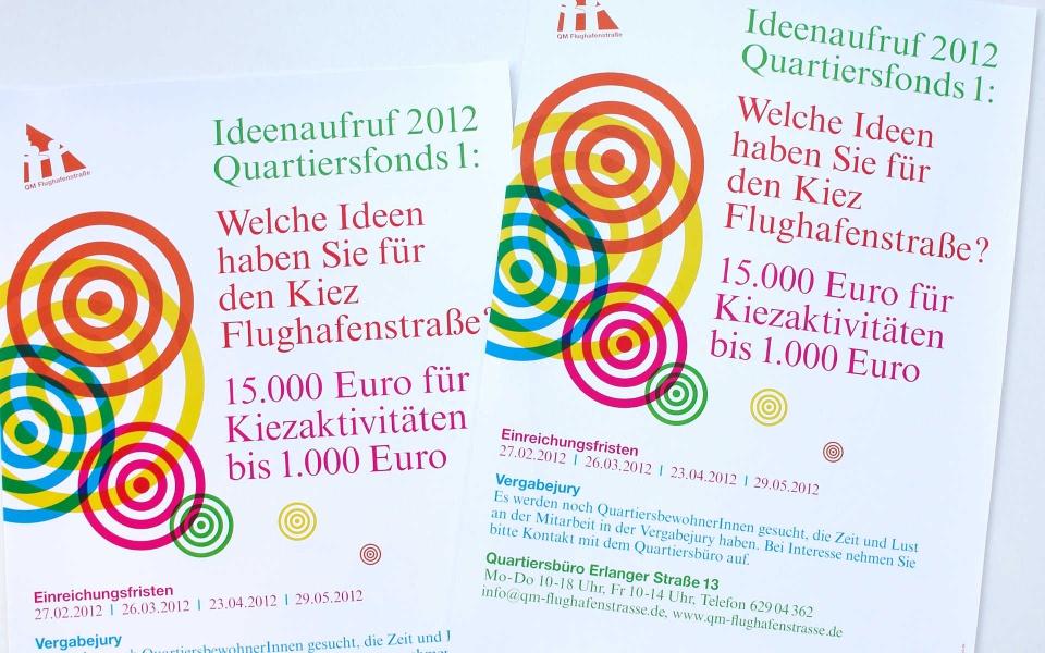 Flughafenstrasse Quartiersmanagement Broschuere Plakate Berlin