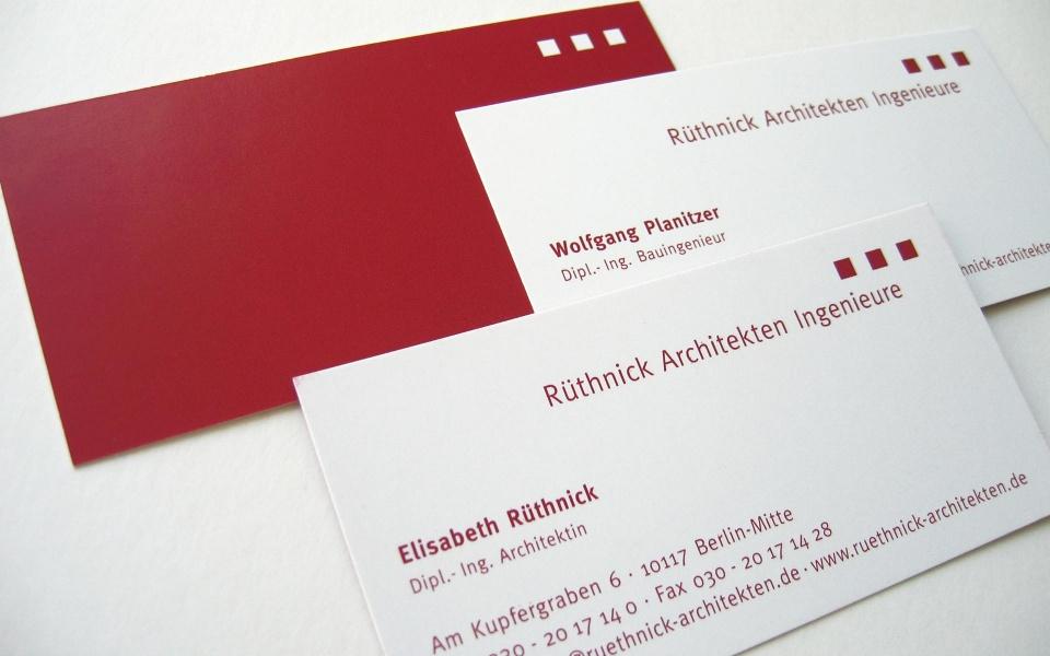 Ruethnick Architekten Visitenkarten Grafik Design
