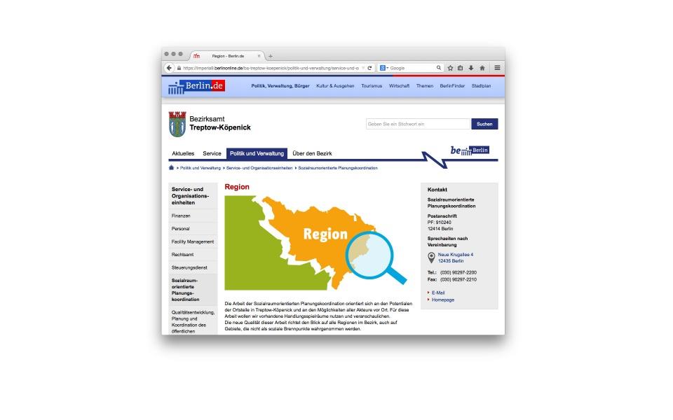 Sozialraumorientierte Planungskoordination Icons Entwicklung Web Berlin