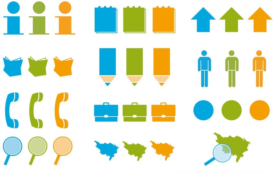 Sozialraumorientierte Planungskoordination Web Icons Design Piktogramme Grafik