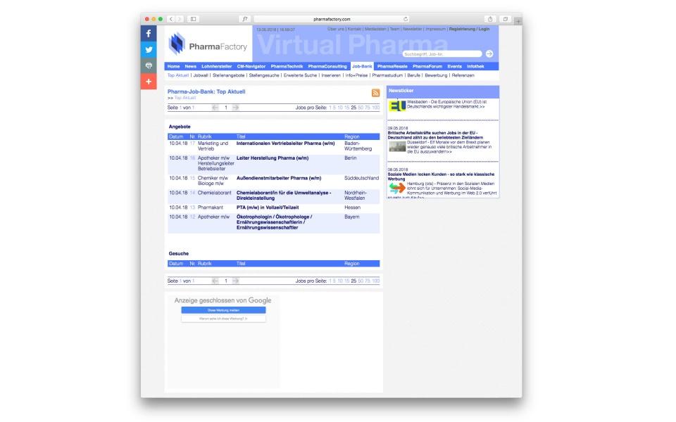 Pharma Factory Website Webdesign Webgestaltung