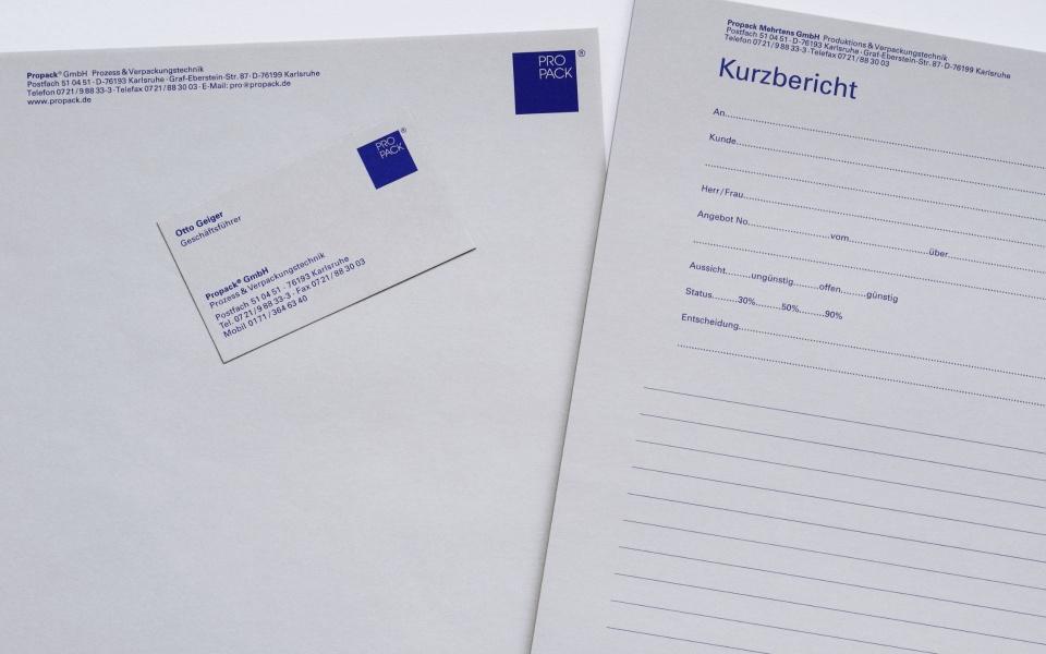 Propack Briefpapier Visitenkarten Kurzmitteilung