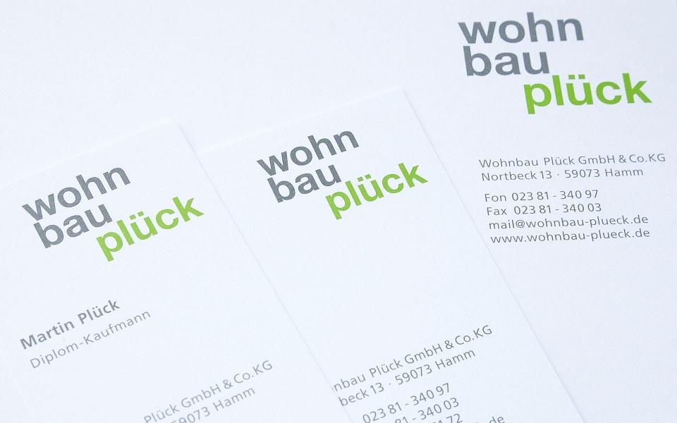 Wohnbau Plueck Visitenkarten Logoentwicklung Geschaeftsausstattung