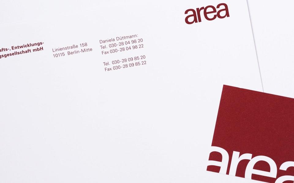 area Immobilien Entwicklung Geschaeftspapier Logoentwicklung