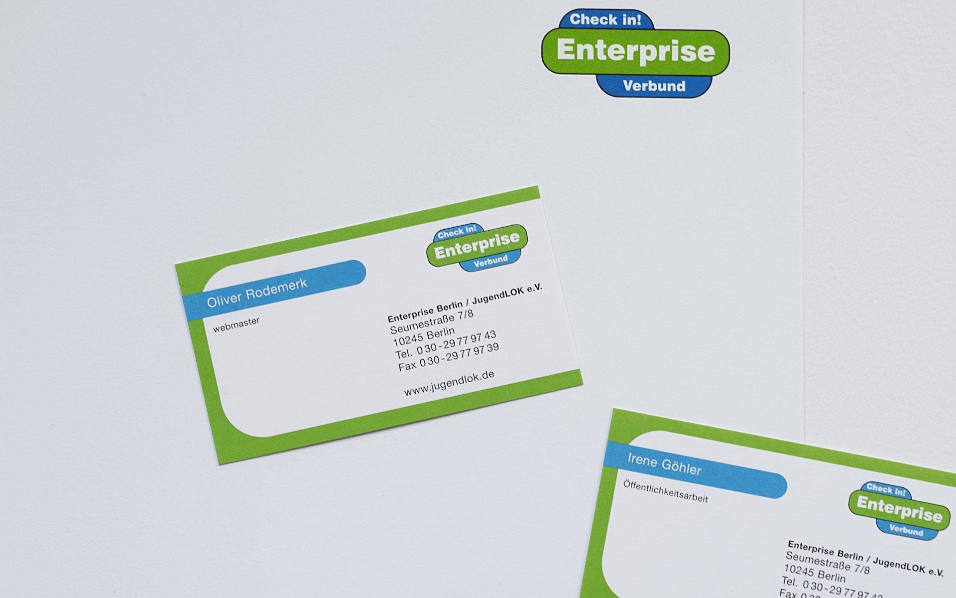 Enterprise Logoentwicklung Briefbogen Visitenkarten Design Berlin