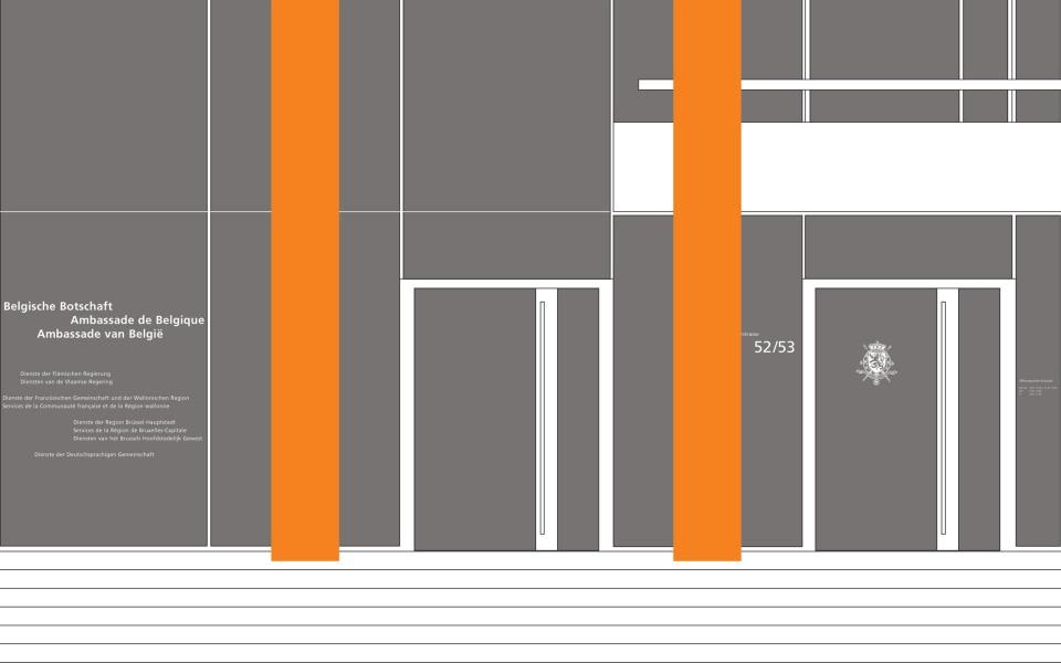 Belgische Botschaft Berlin Fassadengestaltung Typografie Beschriftung