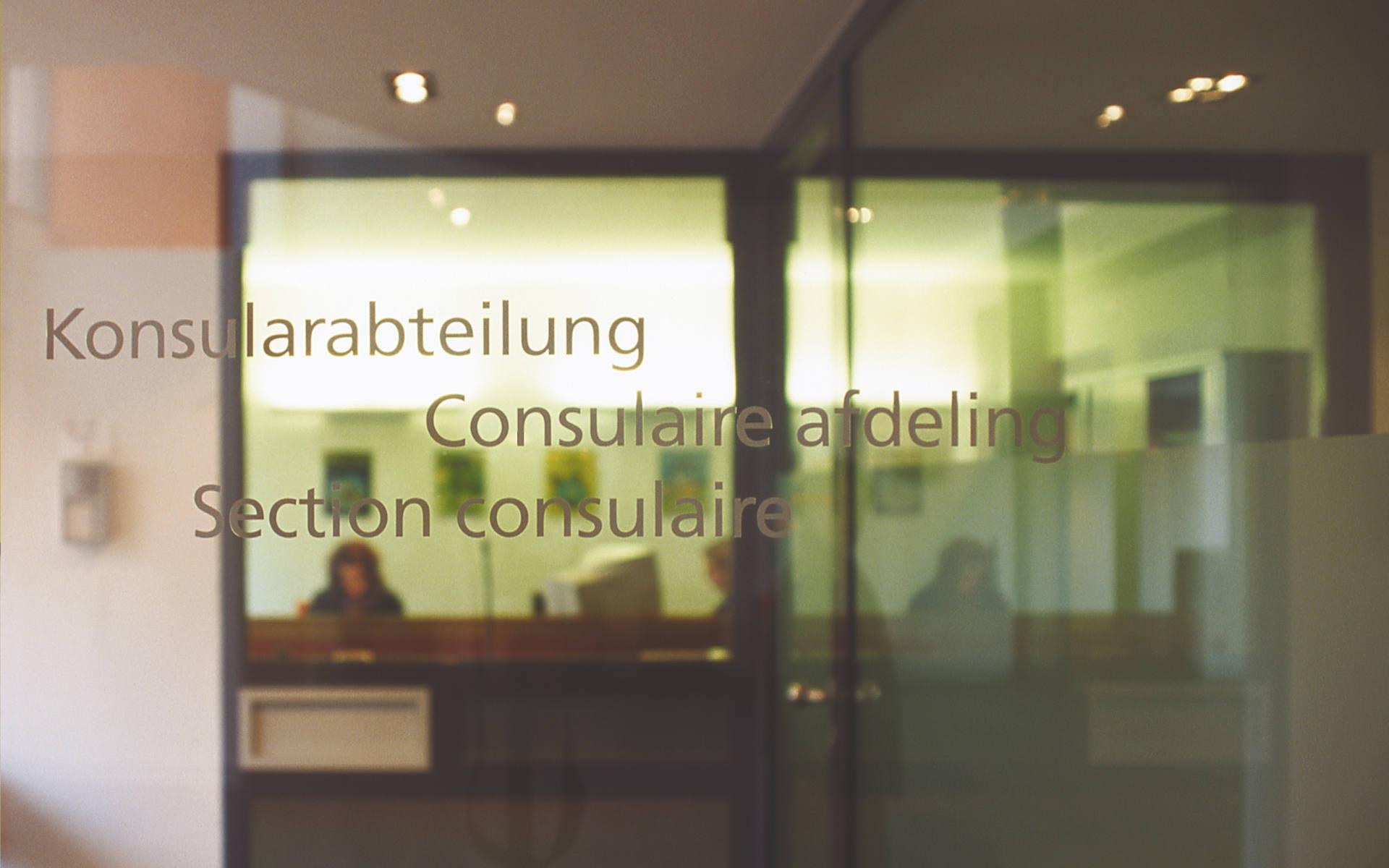 Belgische Botschaft Konsulatsbeschriftung Beschilderung