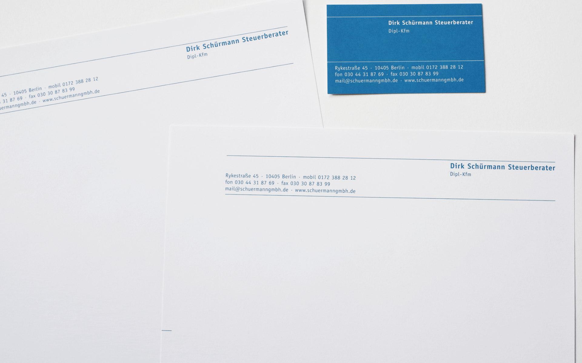 Dirk Schuermann Steuerberater Geschaeftsausstattung Visitenkarten