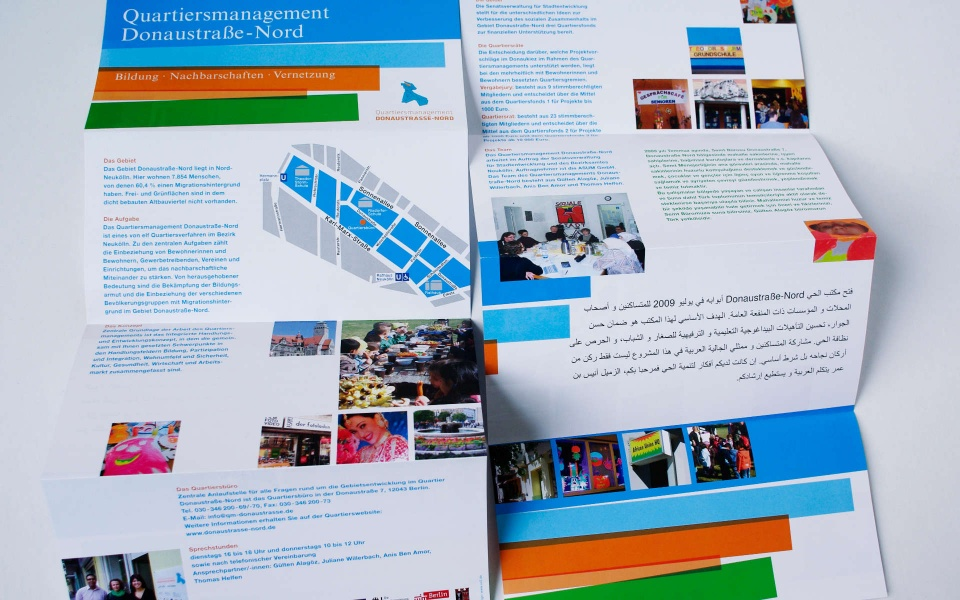 Donaustrasse Quartiersmanagement Faltblatt Broschuere
