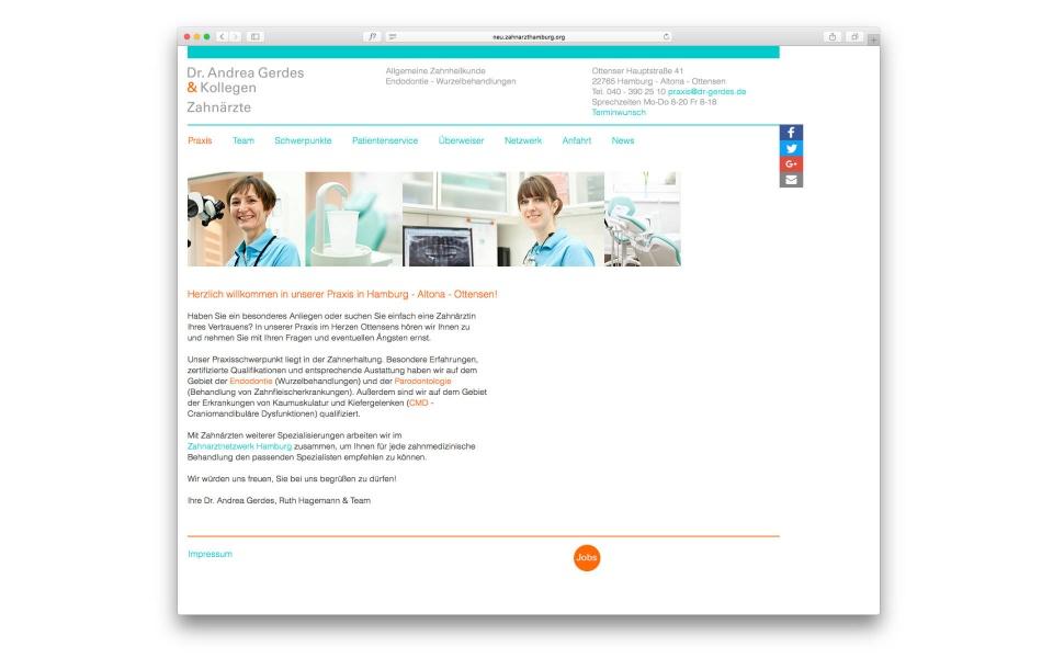 Dr Gerdes Zahnarztpraxis Internetauftritt Webgestaltung