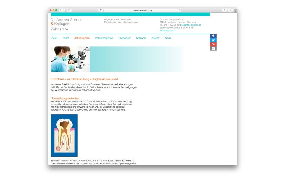 Dr Gerdes Zahnarztpraxis Internetdesign Webdesign Website