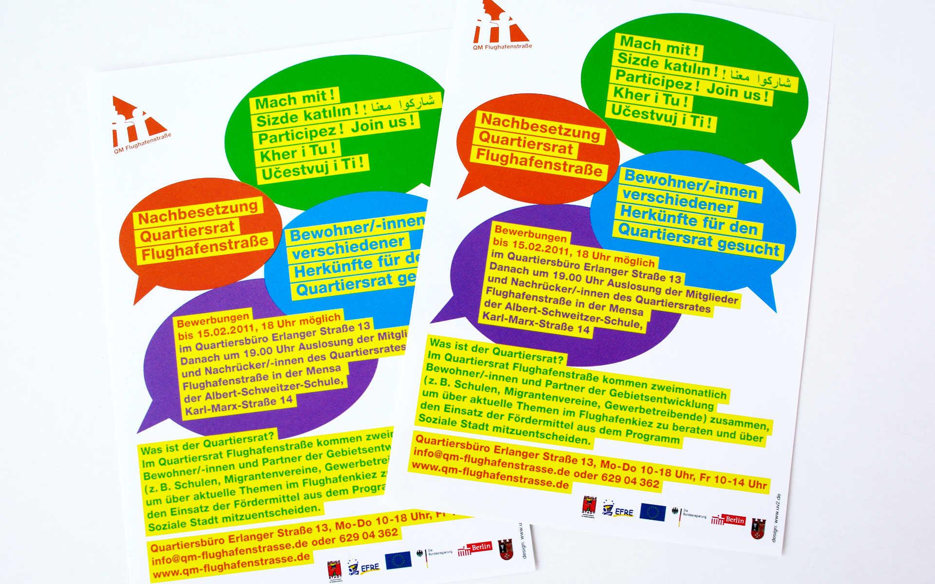Flughafenstrasse Quartiersmanagement Broschuere Faltblatt Flyer
