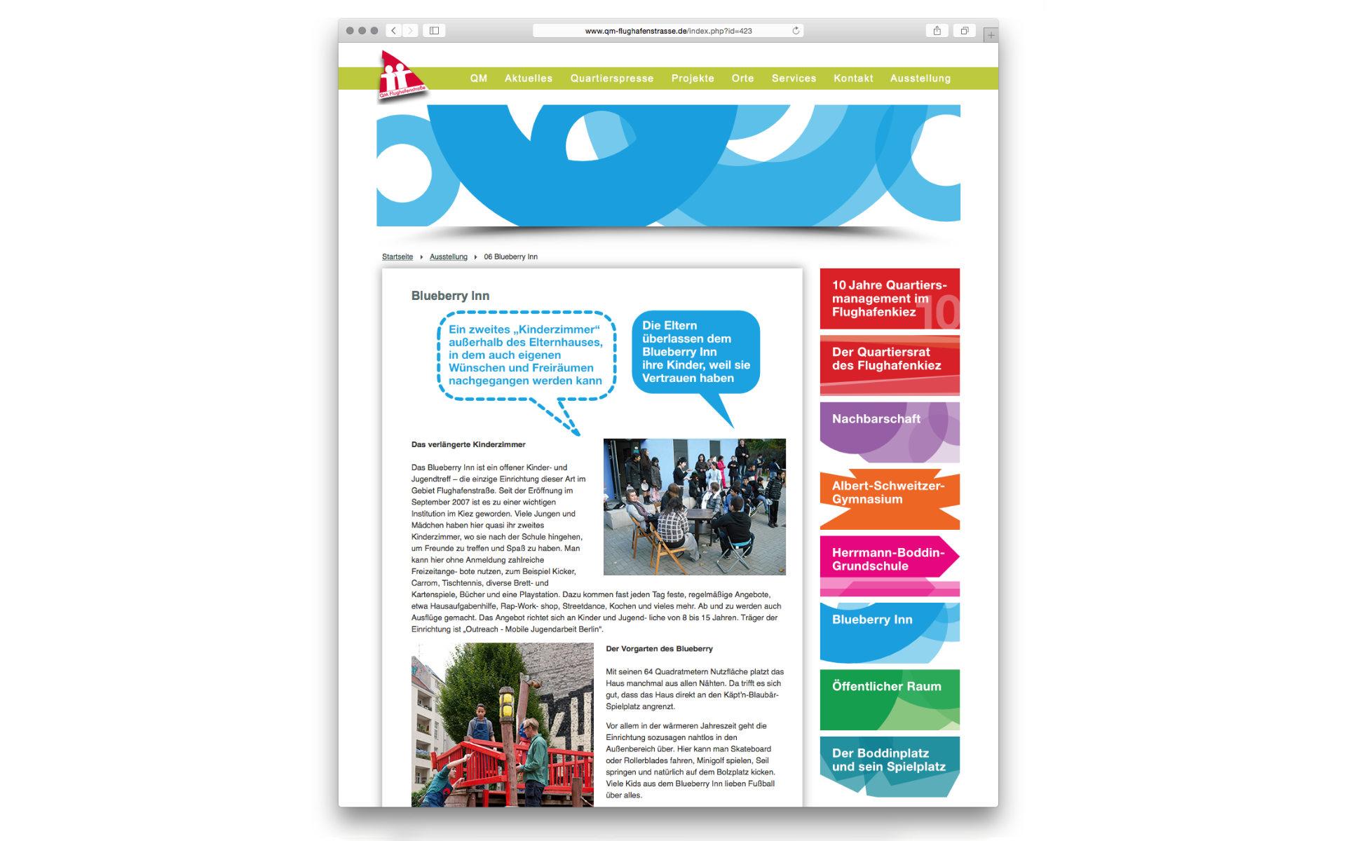 Flughafenstrasse Quartiersbuero Webdesign Grafik Design