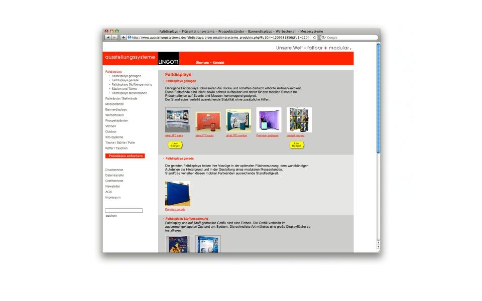 Lingott Ausstellungssystem CMS Websystem Web shop