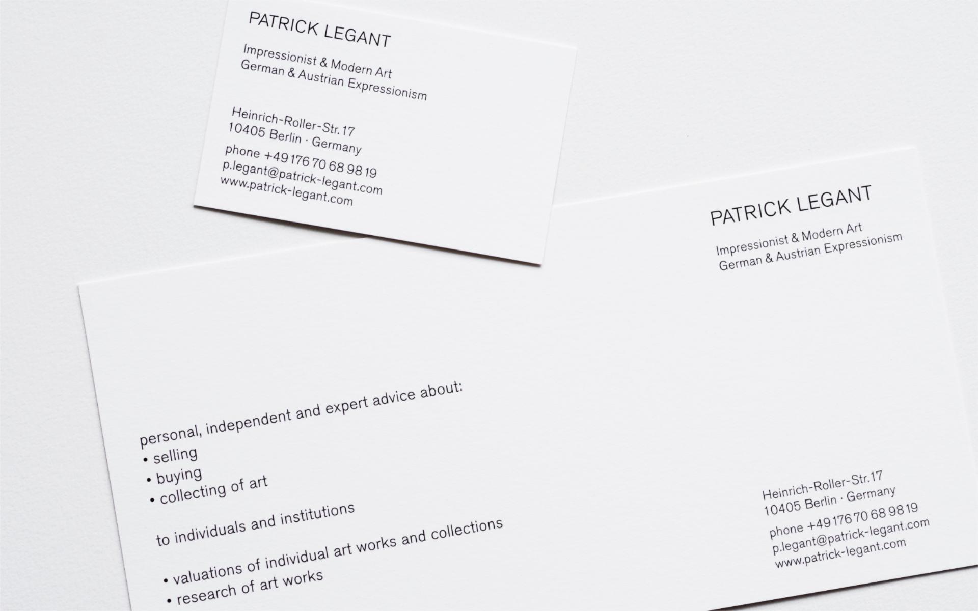 Patrick Legant Briepapier Visitenkarten Corporate Design Berlin