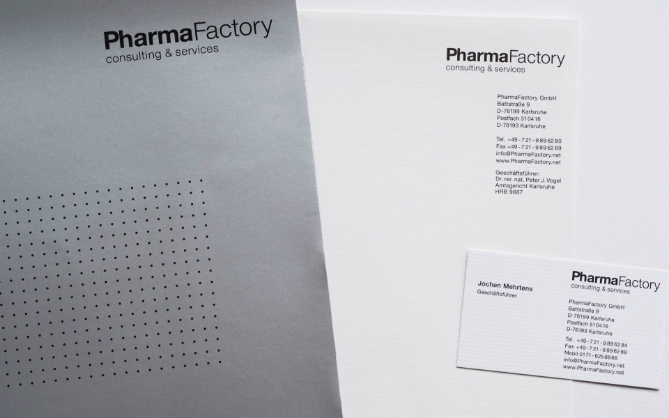 Pharma Factory Briefausstattung Angebotsmappe Webauftritt Corporate Identity