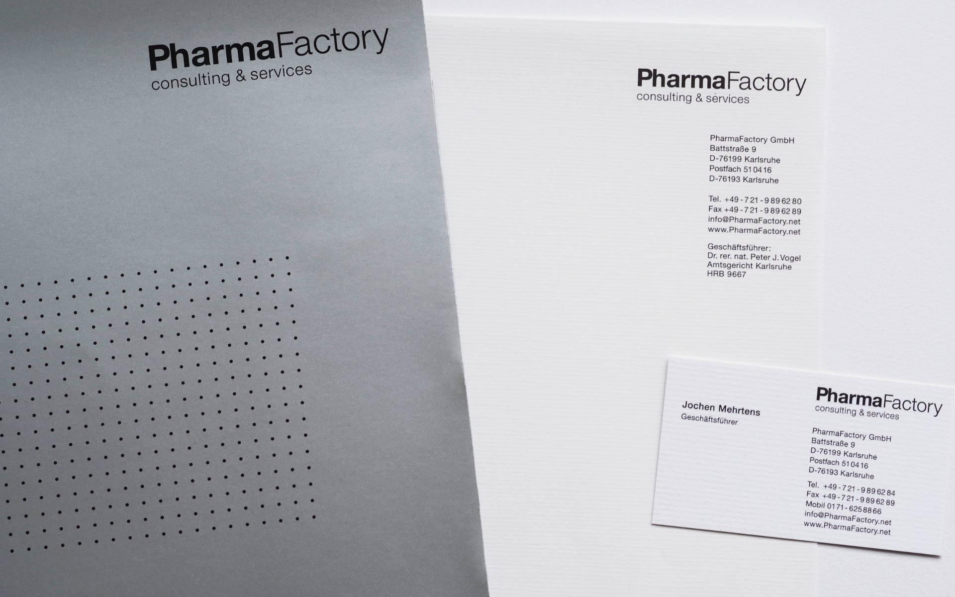 Pharma Factory Briefausstattung Angebotsmappe Webauftritt Corporate Identity