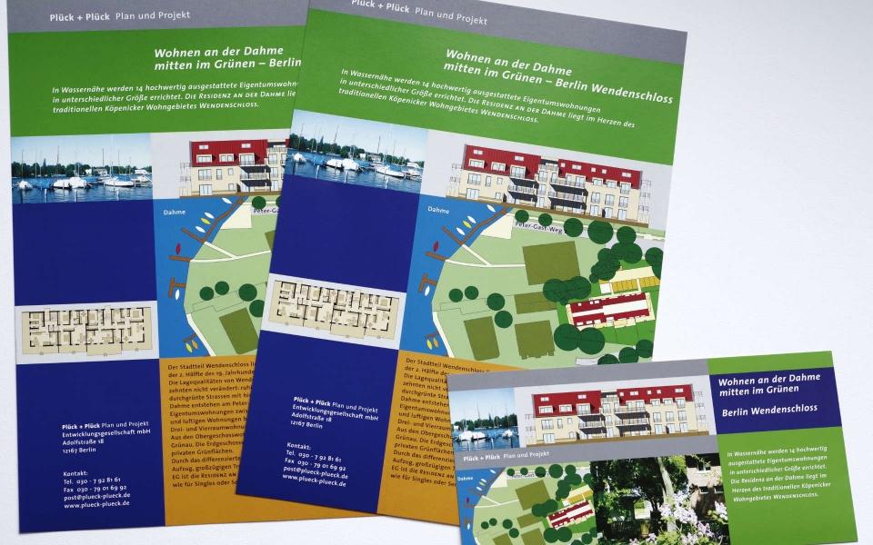 Plueck Plueck Immobilien Vermarktung Broschueren Postkarten