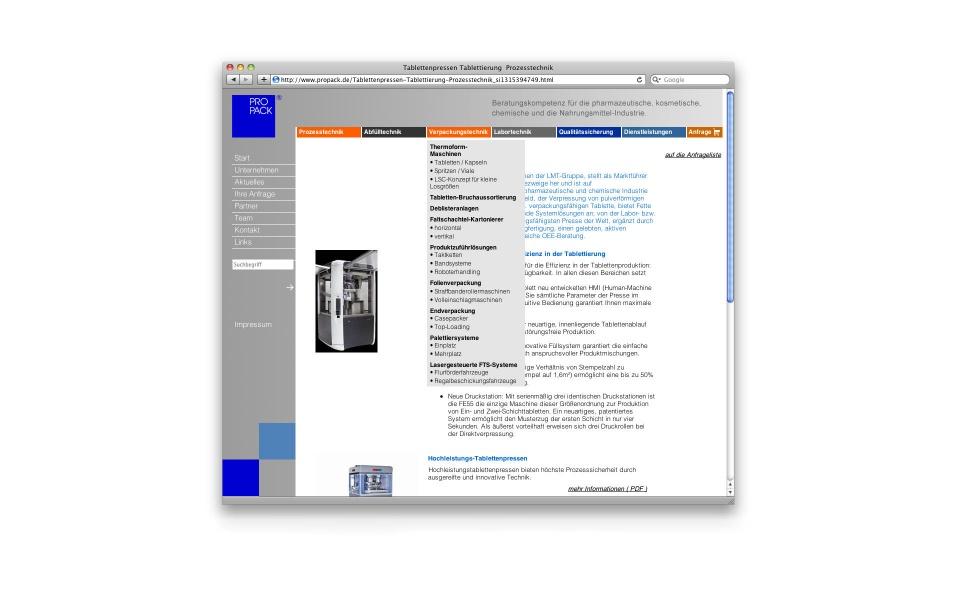 Propack CMS Internetauftritt webdesign Website