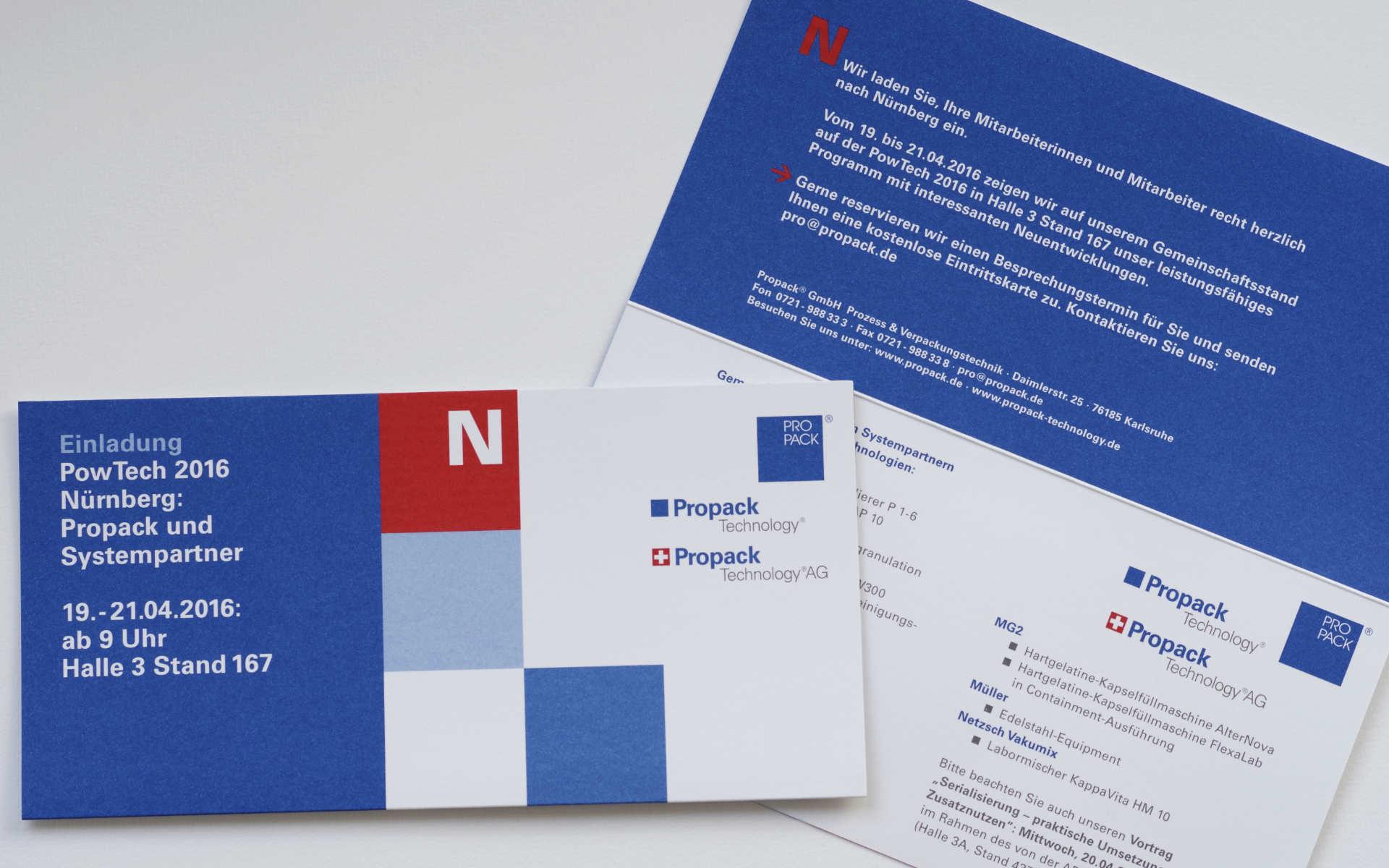Propack Messe Einladungen Postkarten Design
