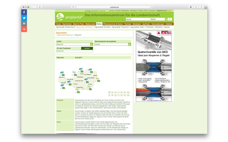 Proplanta Website Nachrichtenportal Webauftritt Berlin