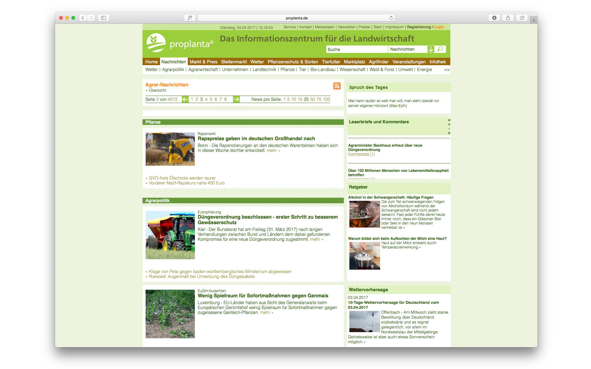 Proplanta Website CMS System Nachrichtenportal