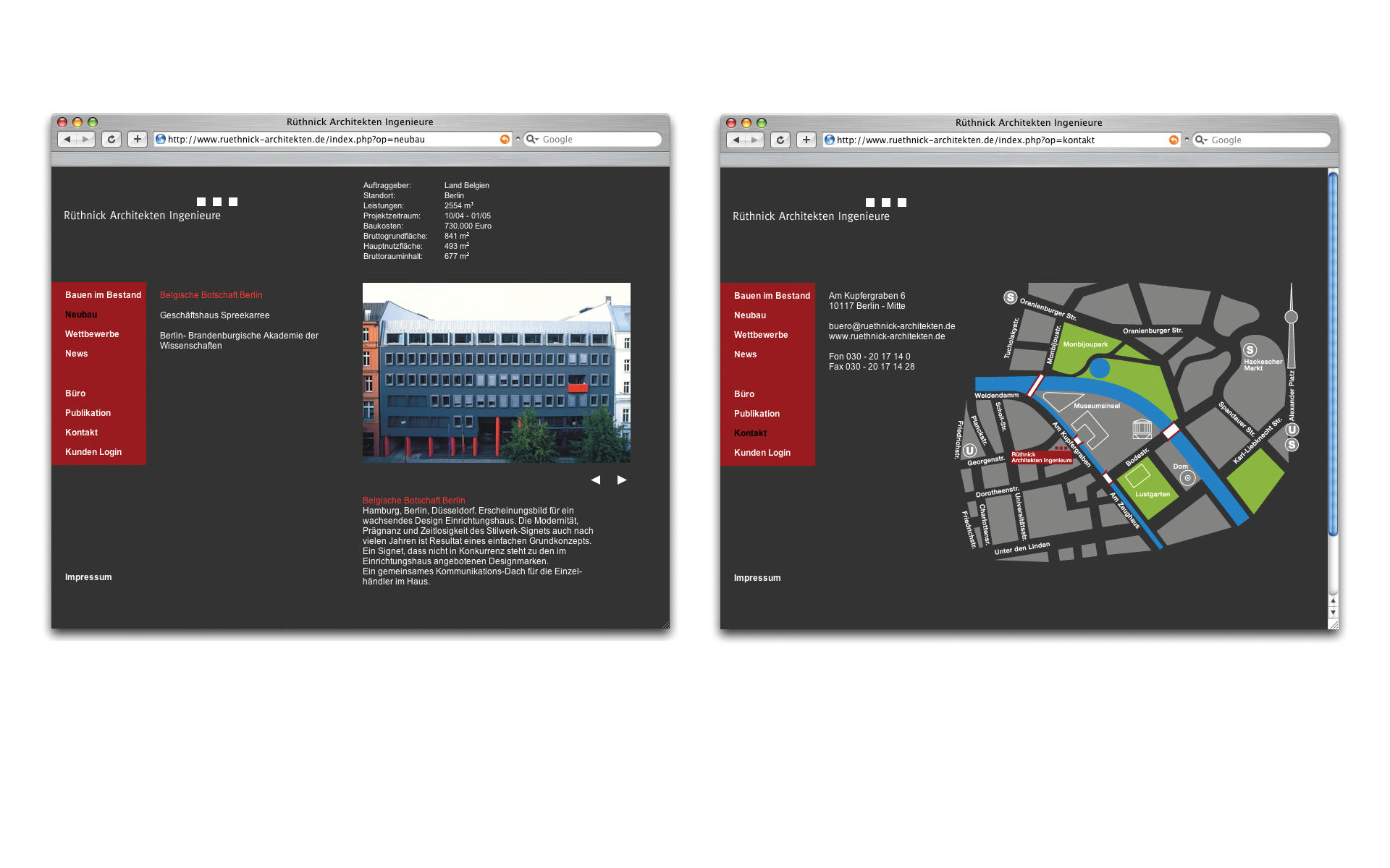 Ruethnik Architekten Webdesign CMS System Berlin