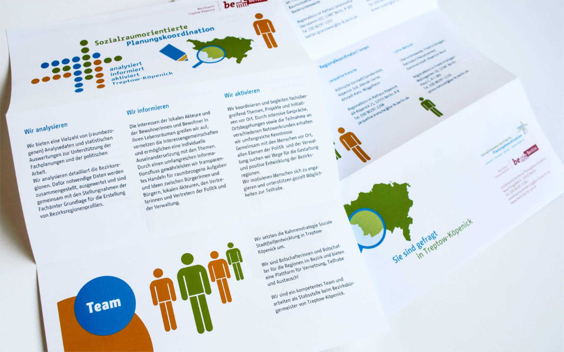 Sozialraumorientierte Planungskoordination Logo Signet Faltblatt