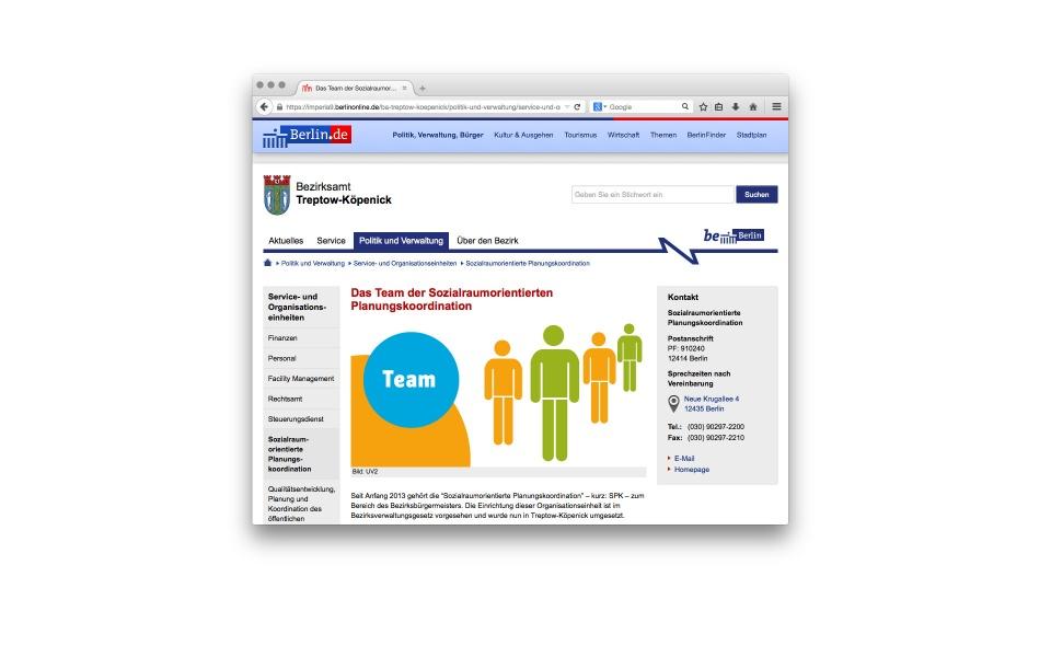 Sozialraumorientierte Planungskoordination Website Grafik Design