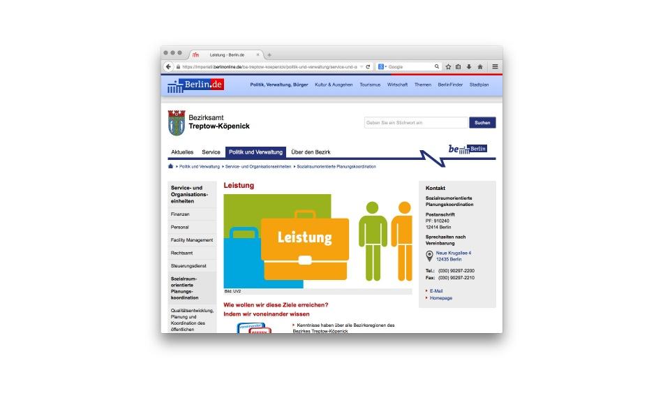 Sozialraumorientierte Planungskoordination Website Icons Design Berlin