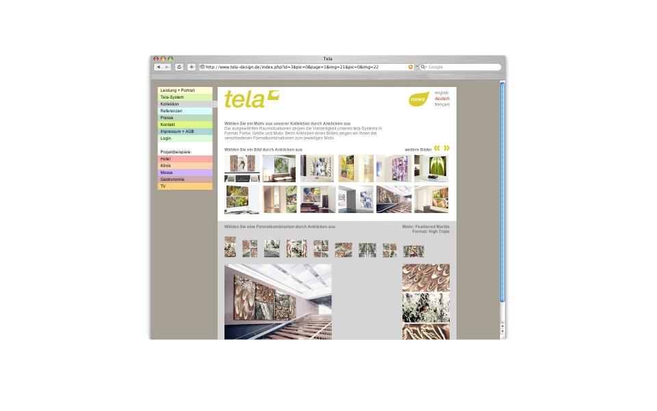 Tela Webdesign CMS System Farbsystem