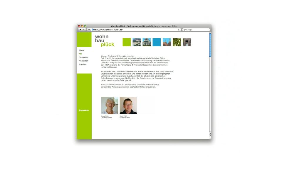 Wohnbau Plueck Website Erscheinungsbild Berlin