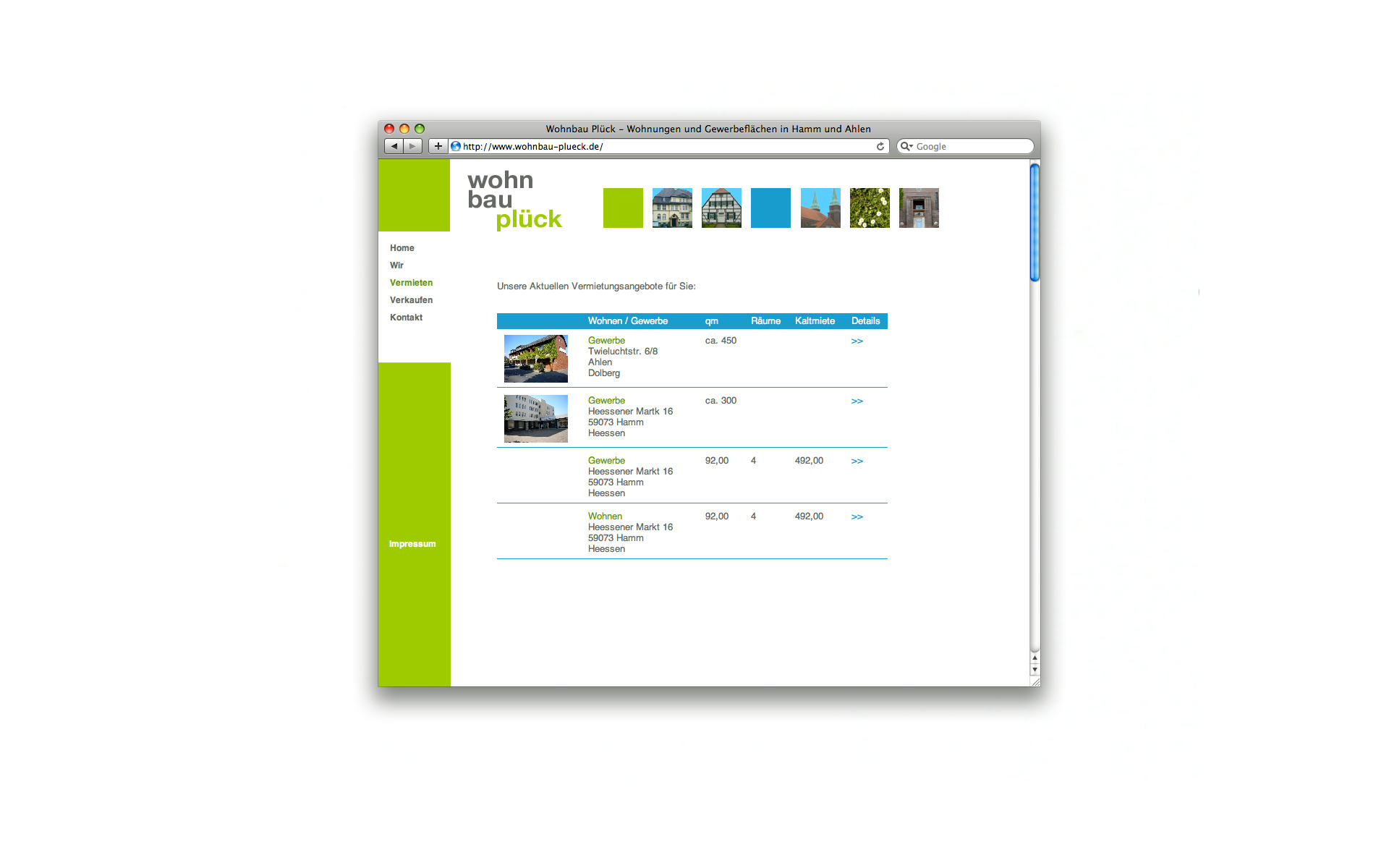 Wohnbau Plueck Website Webgestaltung