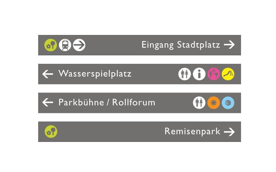Potsdam Volkspark Orientierungssystem Leitsystem Stelen