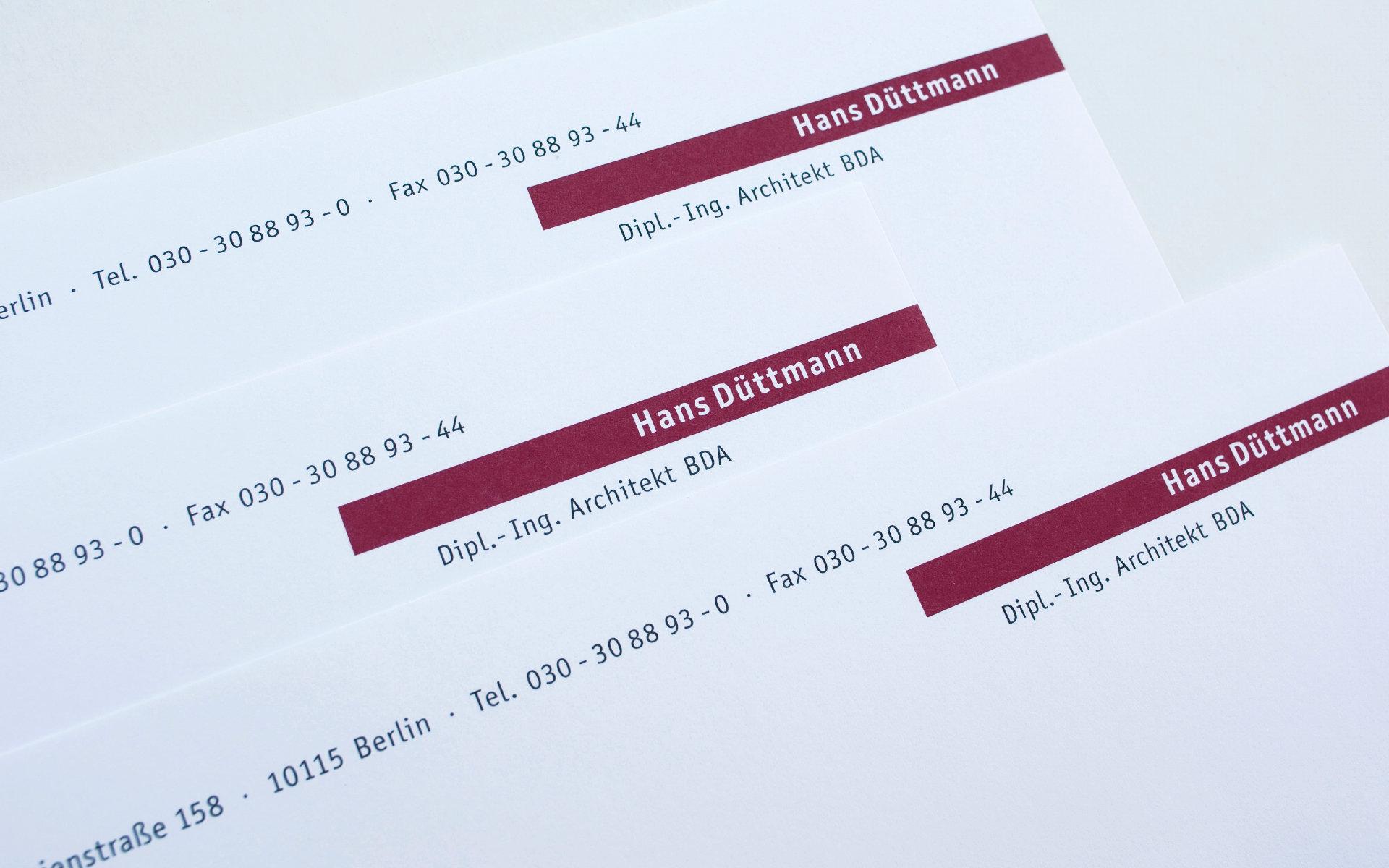 Hans Duettmann Geschaeftsausstattung Briefpapier Logoentwicklung