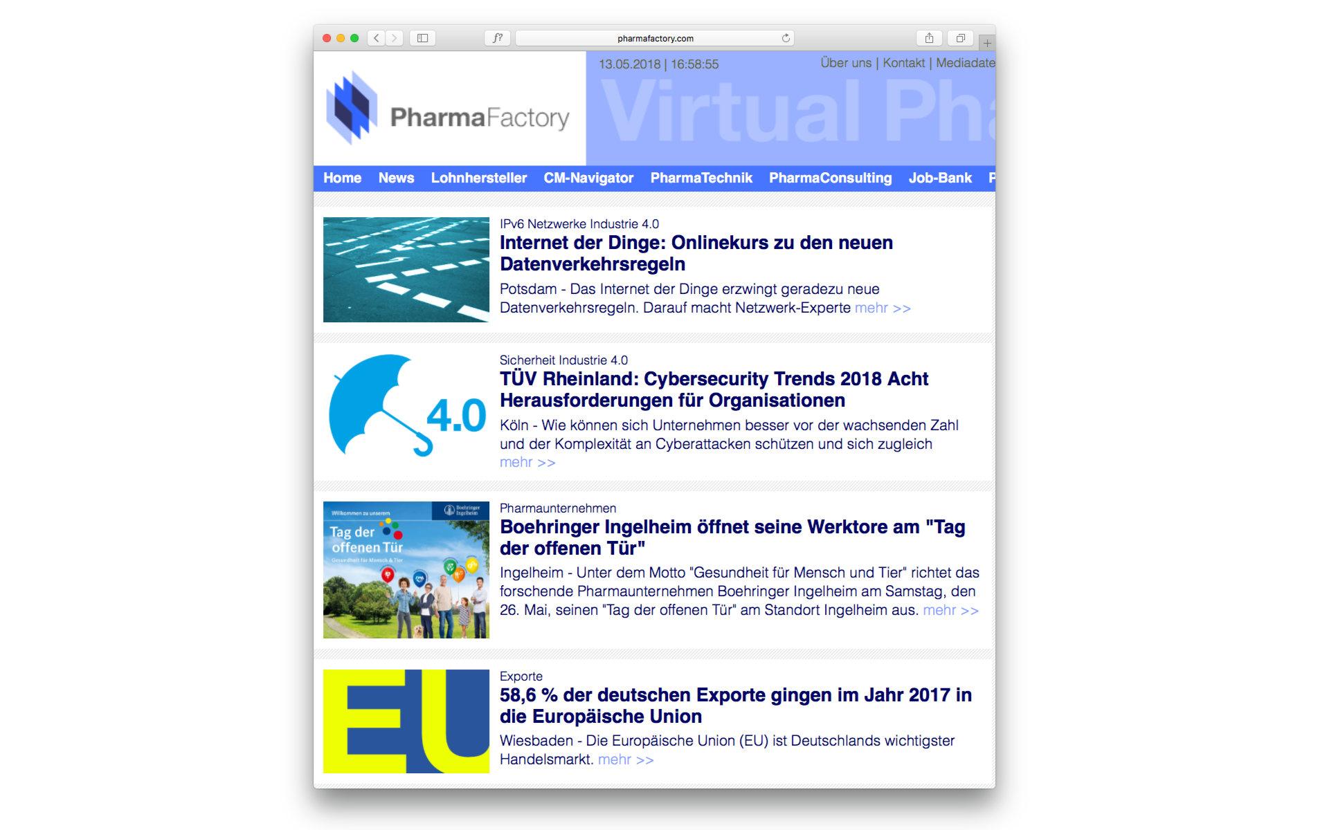 Pharma Factory Website Webdesign Webgestaltung Grafik Design Berlin